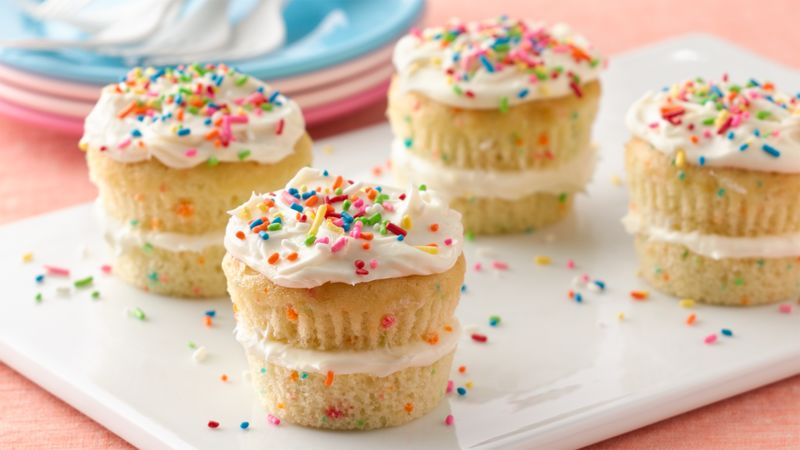 Layered Sprinkle Cupcakes