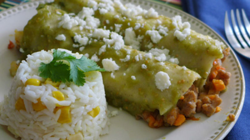 Picadillo Stuffed Green Enchiladas
