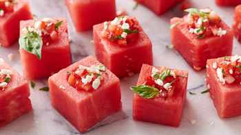 Strawberry-Basil Watermelon Cups