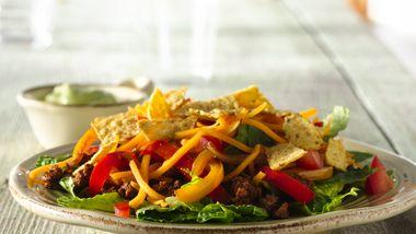 Ground Beef Fajita Taco Salad