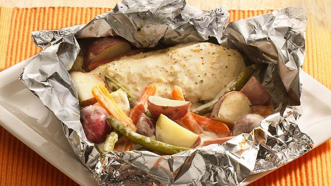 Grilled Parmesan-Ranch Chicken Foil Packs