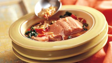 Poached Salmon in Orzo Broth (Cooking for 2)