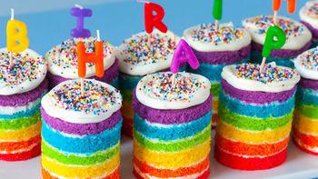 Teeny Tiny Rainbow Cakes