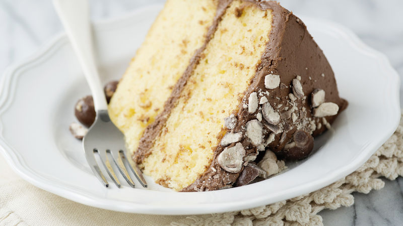 Yellow Cake with Chocolate Malt Buttercream