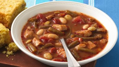Spicy Three-Bean and Chicken Soup