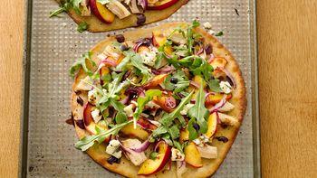 Gluten-Free Pizzettas with Chicken, Peach, Blue Cheese and Arugula