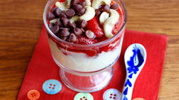 Yogurt Dessert Bowl with Strawberries, Cashews and Chocolate Chips