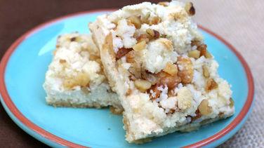 Barras de streusel de manzana y queso sin gluten
