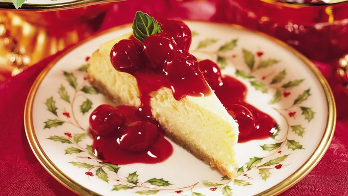 Eggnog Cheesecake with Cherry Sauce