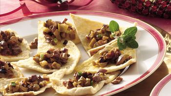Pita Triangles with Olive Relish