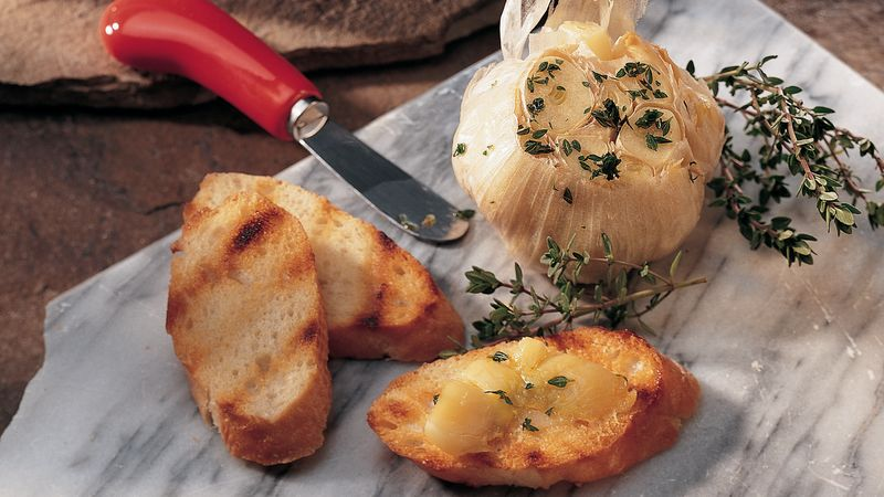 Grilled Garlic with French Bread