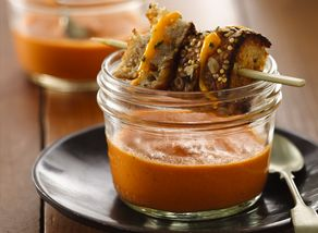 Creamy Tomato Basil Soup with Mini Grilled Cheese Sandwiches