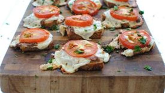 Cheesy Canapés with Roasted Tomatoes and Anchovies