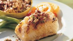 Grilled Sea Bass with Citrus-Olive Butter