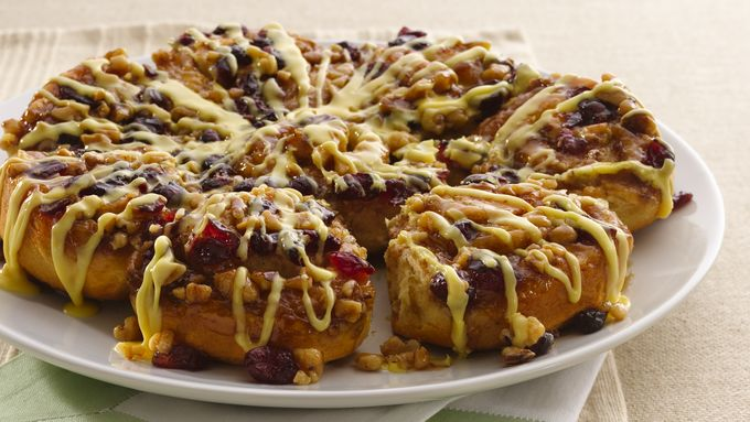 Cranberry Orange Glazed Cinnamon Rolls