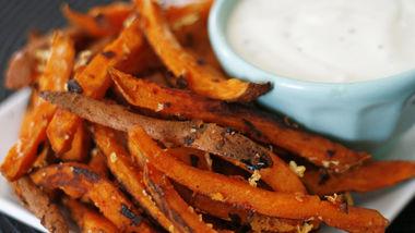 Garlic Romano Sweet Potato Fries