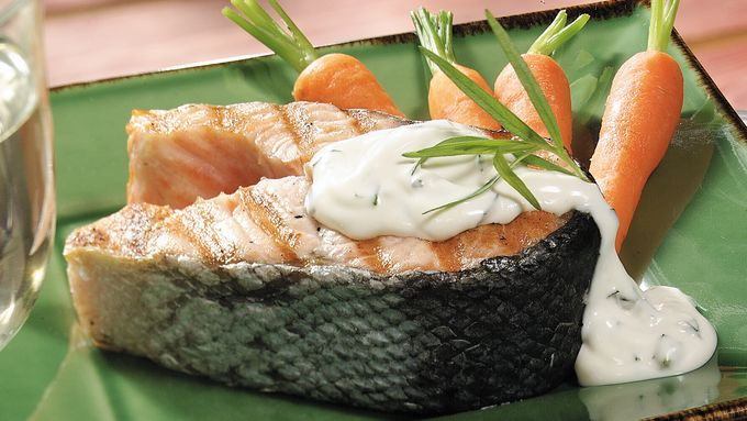 Salmon Steaks With Tarragon Sauce (Cooking for 2)