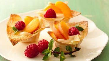 Minicopitas de wonton con Fruta y Yogurt