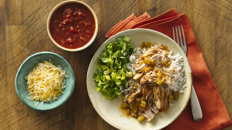 Slow-Cooker Mexican Pork Burrito Bowls recipe from Betty Crocker