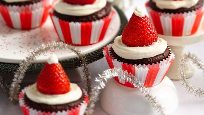 Red Velvet Santa Cupcakes