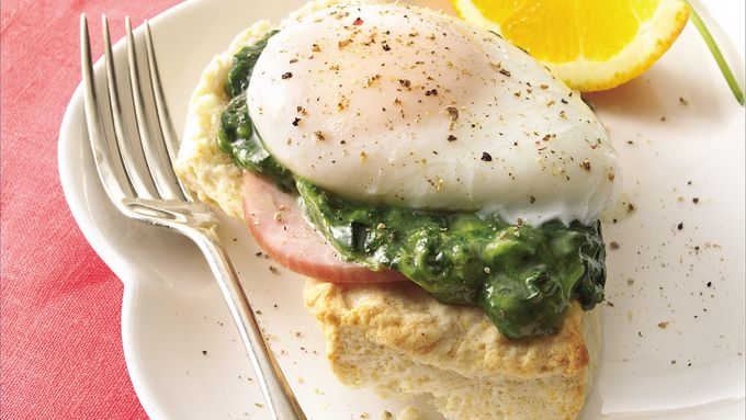 Egg-Topped Muffins Florentine