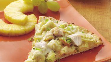 Cheesy Chicken and Artichoke Pizza