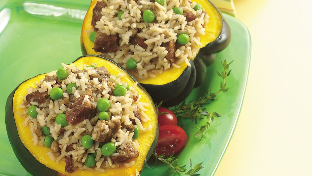 Squash with Vegetarian Sausage and Rice Stuffing