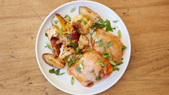 Mexican Chili-Roasted Chicken, Cauliflower, Potatoes and Cilantro