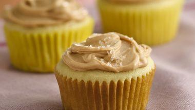 Vanilla Cupcakes with Caramel Sea Salt Frosting