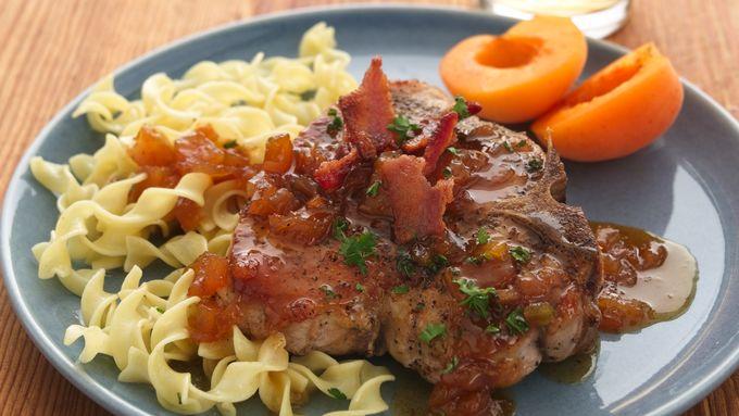Pan-Roasted Pork Chops with Apricot-Caramel Sauce