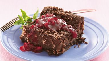 Raspberry Topped Fudgy Cheesecake
