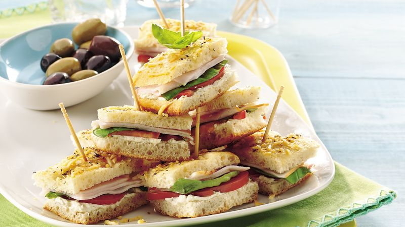 Basil-Turkey Mini Focaccia Sandwiches