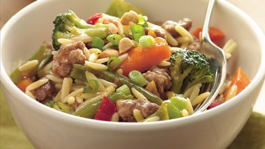 Szechuan Pork with Orzo