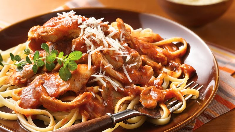Slow-Cooker Chicken Cacciatore with Linguine recipe from Betty Crocker