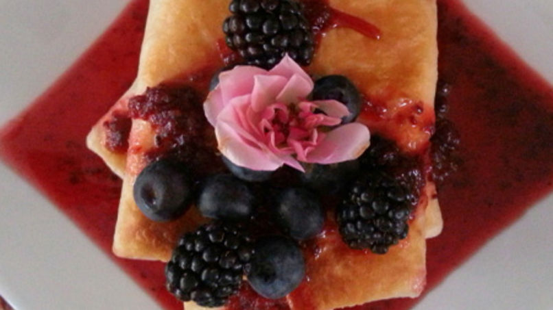 Blintzes with Fresh Blueberry and Blackberry Sauce