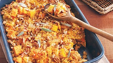 Cornbread Stuffing with Sweet Potatoes and Squash