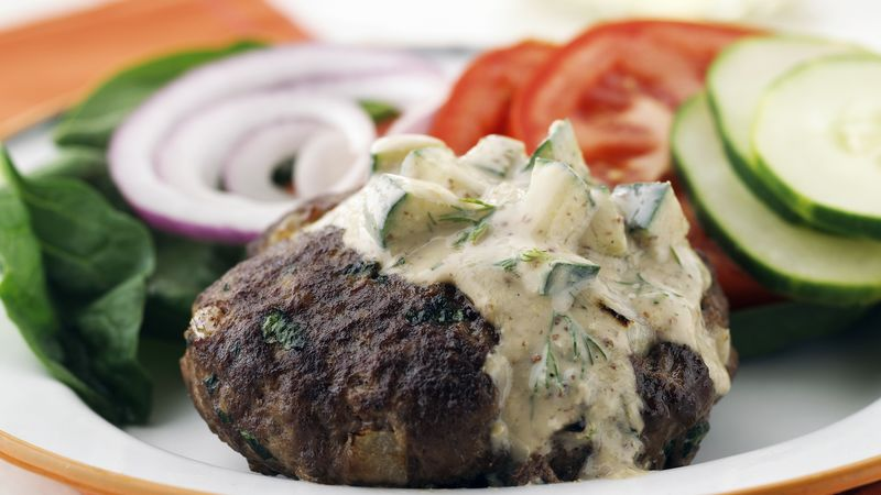 Skinny Burgers with Dill Sauce