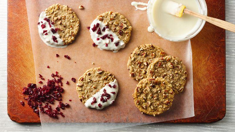 White Chocolate-Dipped Oatmeal-Pecan Cookies