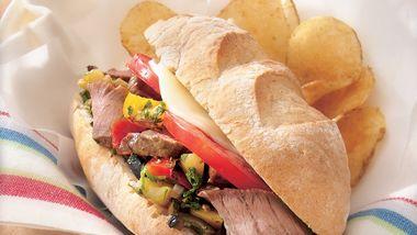 Muffuletta-Style Steak Hoagies