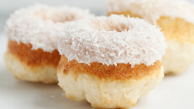 Baked Coconut Doughnuts with Coconut Glaze
