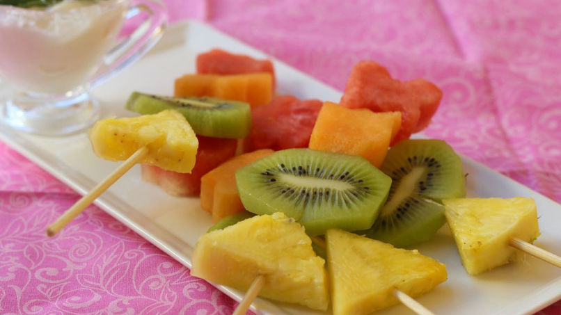 Fruit Kabobs with Yogurt
