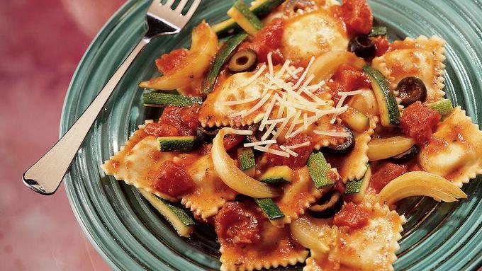 Ravioli with Tomatoes and Zucchini