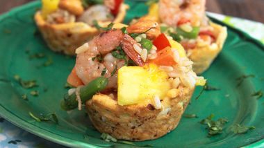 Shrimp Fried Rice in Coconut Cups