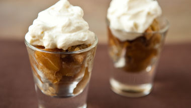 Bourbon Apple Crisp Shooters with Bourbon Cream