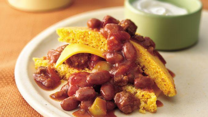 Cornbread Chili Stacks