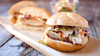 Crispy Baked Chicken Sandwich with Dill Pickle Slaw