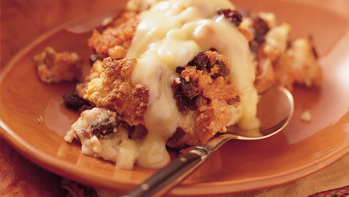 "Sweet Potato ""Bread"" Pudding with Orange Sauce"