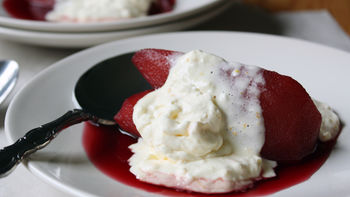 Pomegranate-Poached Pears with Orange-Ginger Mascarpone Whipped Cream