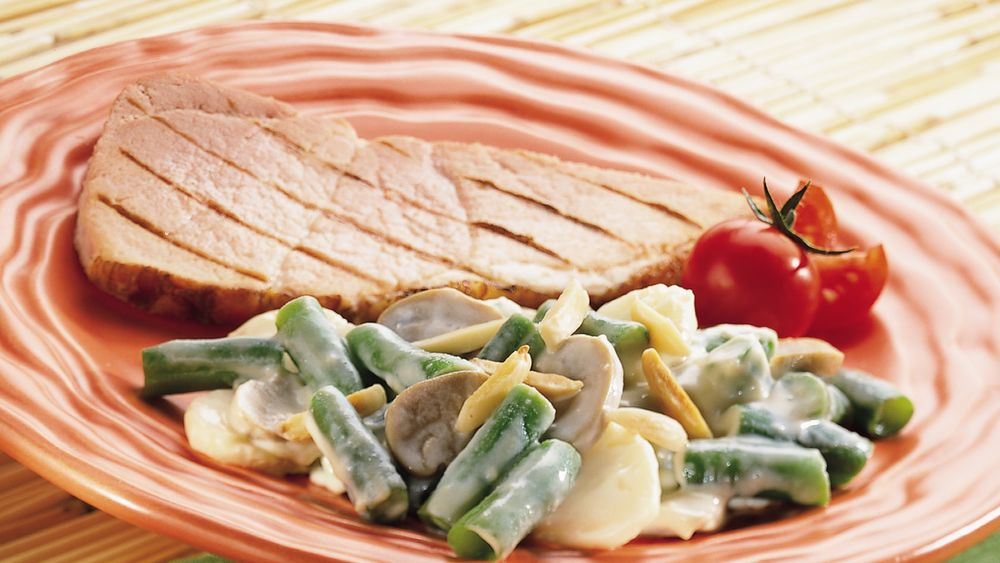 Cheesy Green Bean Casserole with Water Chestnuts and Mushrooms