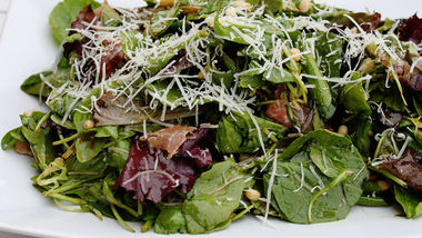 Prosciutto and Pine Nut Salad with Balsamic Vinaigrette